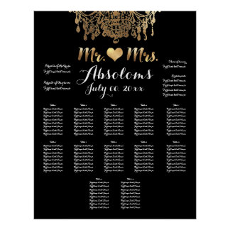 PixDezines DIYColor/Gold Chandelier/Heart/Seating Poster