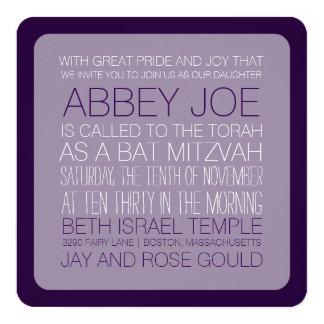 "PixDezines DIYcolors/typography/bat mitzvah 5.25"" Square Invitation Card"