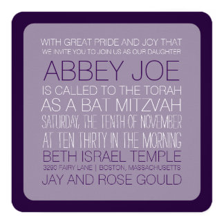 PixDezines DIYcolors/typography/bat mitzvah Card