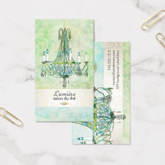PixDezines emerald green+blue topaz chandelier Business Card