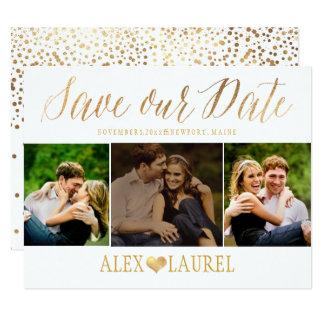 PixDezines Faux Gold Confetti/Heart/Save Date Card