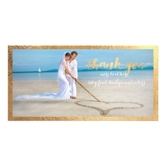 PixDezines faux gold frame/thank you wedding photo Card