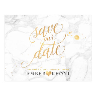 PixDezines Faux Gold/Marble/Save our Date Postcard