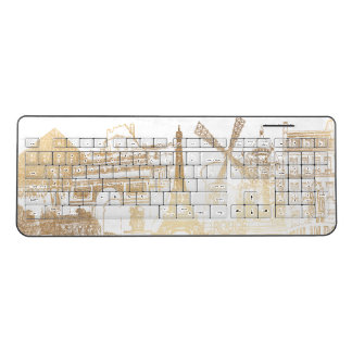 PixDezines Faux Gold Paris Sketched Wireless Keyboard