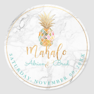 PixDezines Faux Gold Pineapple/Marble Classic Round Sticker