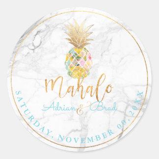 PixDezines Faux Gold Pineapple/Marble Round Sticker