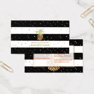 PixDezines Faux Gold Pineapples/B+W Stripes Business Card