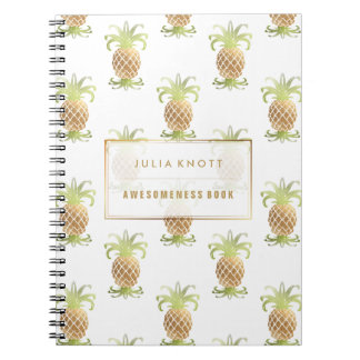 PixDezines Faux Gold Pineapples/DIY background Notebook