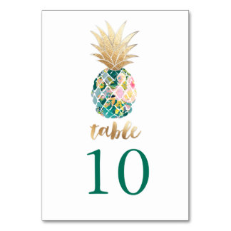 PixDezines Faux Gold Pineapples/Table Cards Table Card
