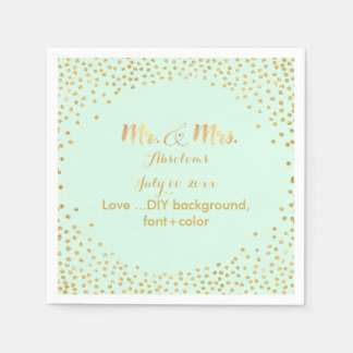 PixDezines faux gold specks/DIY color/mint Disposable Napkin