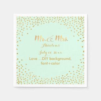 PixDezines faux gold specks/DIY color/mint Napkin