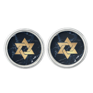 PixDezines Faux Gold Star of David/Blue Marble Cufflinks