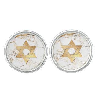 PixDezines Faux Gold Star of David/Marble Cufflinks
