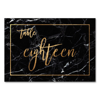 PixDezines Faux Gold/Table No1-18/Black Marble Table Cards