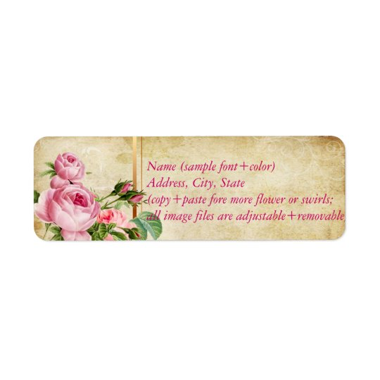 PixDezines faux parchment +vintage roses Return Address Label