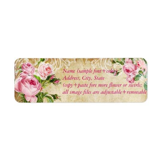 PixDezines faux parchment +vintage roses Return Address Label