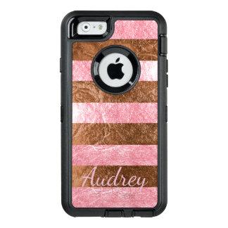 PixDezines Faux Raspberry Pink+Copper Foil OtterBox iPhone 6/6s Case