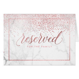 PixDezines Faux Rose Gold Confetti/Reserved Table Card