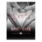PixDezines Faux Rose Gold Save the Date/Heart Postcard