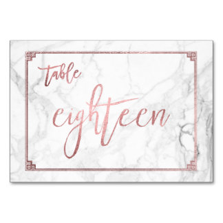 PixDezines Faux Rose Gold/Table No1-18/Marble Table Cards