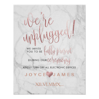 PixDezines Faux Rose Gold #UNPLUGGED CEREMONY Poster