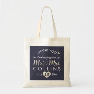 PixDezines Faux Silver Heart/Mr.&Mrs./Thank You Tote Bag