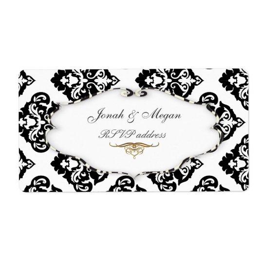 PixDezines Felina, Olivia Damask Shipping Label