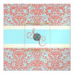 "PixDezines Fidora Blue+Coral Vintage Damask 5.25"" Square Invitation Card"
