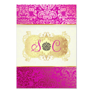 "PixDezines Fidora Vintage Damask 5"" X 7"" Invitation Card"
