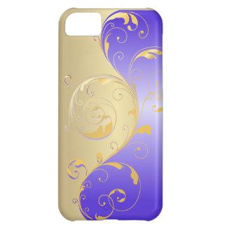 PixDezines filigree swirls/faux gold+purple Case For iPhone 5C