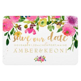 PixDezines floral ranunculus save our date Rectangular Photo Magnet