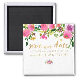 PixDezines floral save our date/ranunculus Square Magnet