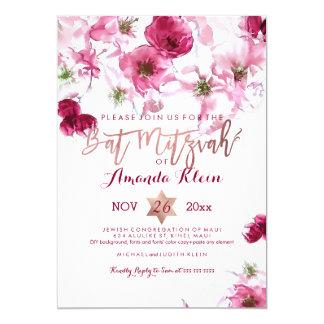 "PixDezines Floral Watercolor Bat Mitzvah 5"" X 7"" Invitation Card"