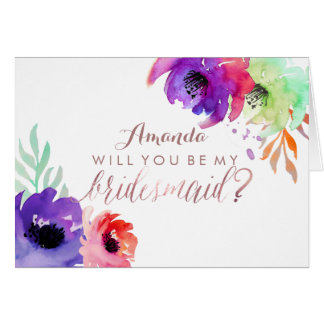 PixDezines Floral Watercolor/Be My Bridesmaid Card