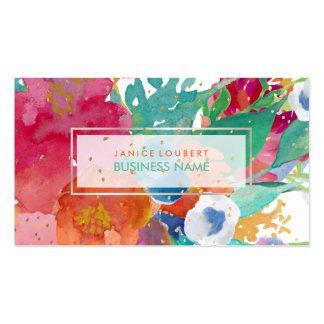 PixDezines Floral Watercolor/Pansies/Gold Specks Business Card