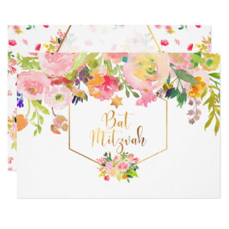 PixDezines Floral Watercolor/Peonies/Bat Mitzvah Card