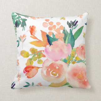 PixDezines Floral Watercolor/Peonies Throw Pillow