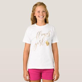 PixDezines Flower Girl/Faux Gold Modern Calligraph T-Shirt