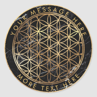 PixDezines FLOWER OF LIFE FAUX GOLD+MARBLE Classic Round Sticker