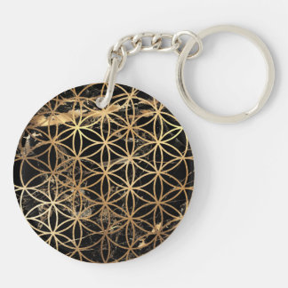 PixDezines Flower of Life / Faux Gold+Marble Keychain
