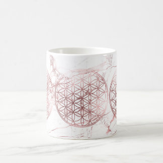 PixDezines FLOWER OF LIFE FAUX ROSE GOLD+MARBLE Coffee Mug