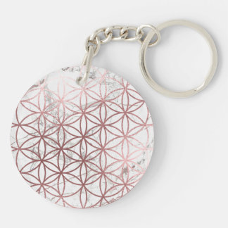 PixDezines Flower of Life / Faux Rose Gold+Marble Keychain