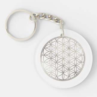 PixDezines Flower of Life / Faux Silver Keychain