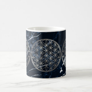 PixDezines FLOWER OF LIFE FAUX SILVER+MARBLE Coffee Mug