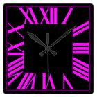 PixDezines Fluorescent Pink Roman Numeros Square Wall Clock