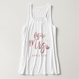 PixDezines Future Mrs/Faux Rose Gold Script Tank Top