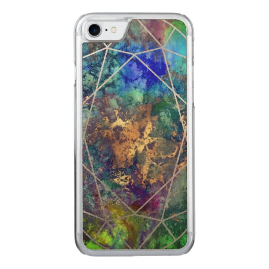PixDezines Galaxy+Gemstone Facets Carved iPhone 8/7 Case