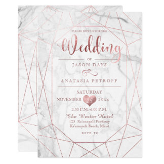 PixDezines Gemstone+Marble/Faux Rose Gold/Wedding Card