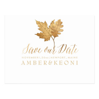 PixDezines Gold Fall Foliage/Save our Date Postcard