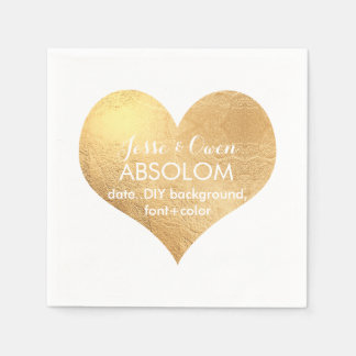 PixDezines gold heart/faux foil Disposable Napkin
